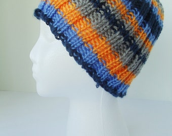 Blue stripe toboggan, multicolored hat