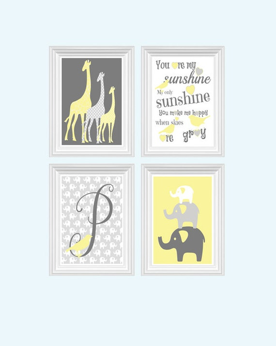 elephant giraffe nursery decor perconalized name boy s or