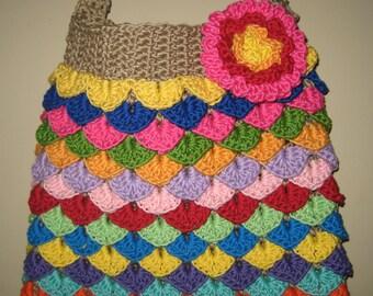 Colorful Crocodile Stitch Handbag