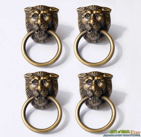 Lot of 4 Pcs Antique LION Head Small Solid Brass Round Cabinet