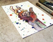 Original ACEO  - colorful watercolor painting - THE CATCH: It's time to take control