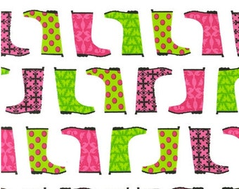 Rain Boots Fabric - Jack & Jenny by Laurie Wisbrun for Robert Kaufman AWN-12530-107 PETAL - 1/2 yard
