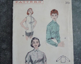 Butterick 7397 Vintage 1950's Sewing Pattern: Tailored Button-Up Shirt, Size 12 (30-25-33)