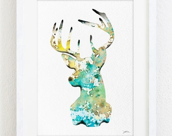 Deer Watercolor Print - 5x7 Archival Fine Art Print - Gift, Wall Decor, Home Decor, Housewares