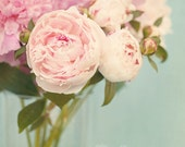 Flower Photo, Fine Art Photograph, Peony Photo, Bouquet, Pastel, Pink, Delicate, Shabby Chic, Spring, Cottage Art, Home Decor, 8x12 Print