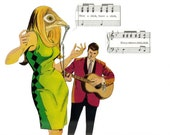 Music Artwork Original Collage on Paper Song Bird Art Songbird Gift for Singer Musician Guitar Player Guitarist