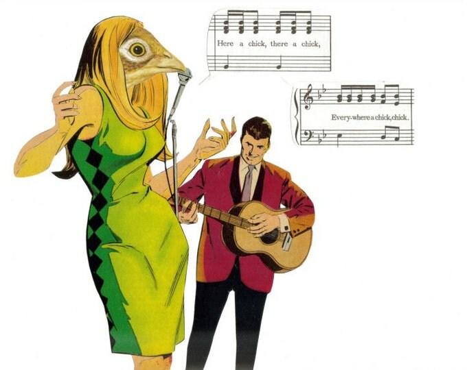Song Bird Art Collage, Singer Songbird Artwork