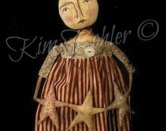 Instant Americana Primitive Doll Pattern Download PDF E Patterns Folk Art Vintage Star Fabric Cloth Sewing Veenas Mercantile Kim Kohler