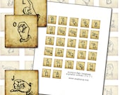 Antique Sign Language Alphabet 1 inch square digital collage sheet inchies inchie 25mm 1x1 ASL