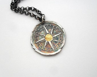 24K Gold Accent Compass Fine Silver Necklace - My True North - Made to Order