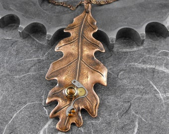 Steampunk Copper Leaf Necklace - Copper Fall of Time by COGnitive Creations