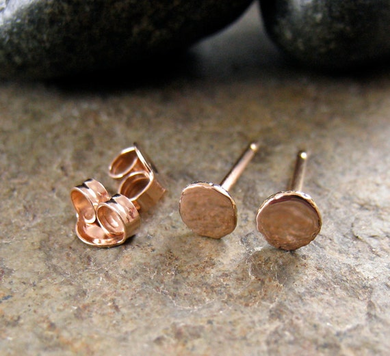 Small Rose Gold Stud Earrings Solid 14k Gold Post Earrings Pink Gold Studs Solid 14kt Karat Gold 4mm Minimal Earrings Dot Pebble Studs