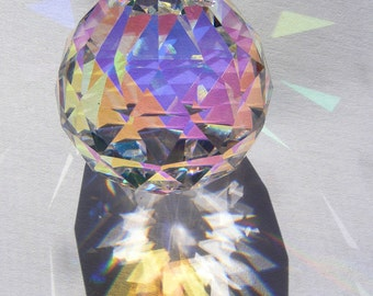 Pretty! ASFOUR 30mm prism ball w/ flashy Aurora Borealis finish - Feng Shui - suncatcher - for glass crafting