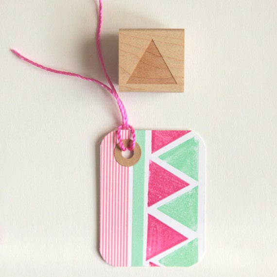 Geometric Rubber Stamp (Wood Mounted) 1 inch Triangle, Abstract Shape with optional wooden handle, Petites Collection (SP604) DIY Stationery