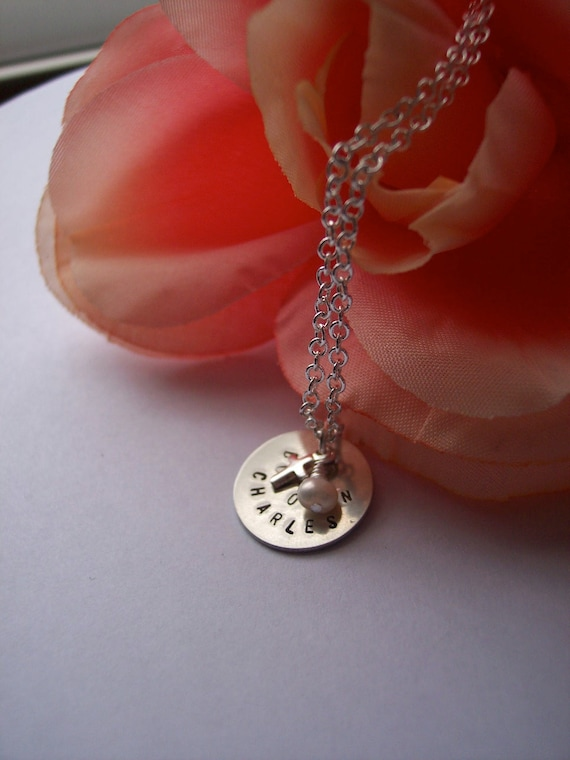 My Babies Tiny hand stamped small disc necklace