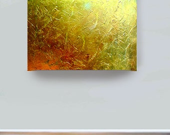 ABSTRACT PAINTING large acrylic metallic gold textured golden modern art impasto contemporary art canvas fine art by Carol Lee aka Leearte