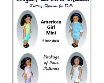 Knitting Patterns fit American Girl Mini Doll, (AG 6.5 inch), Instant Download