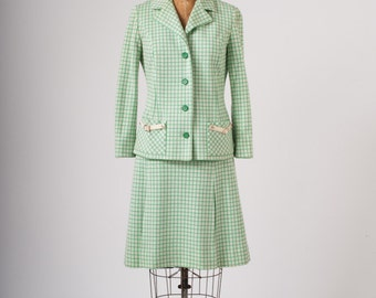 1960s Mod Vintage Plaid Wool Suit, Green Checkered Two Piece Set, Tricosa Paris, Made in France, Women's Clothing, Suits
