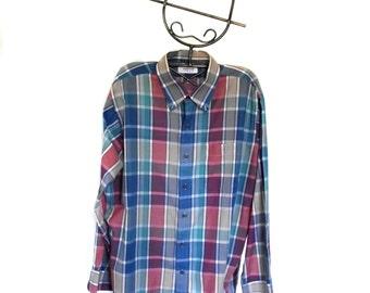 70s Mens Shirt Arrow SPORT Shirt Color Block Plaid Sz L to Sz XL Epsteam Vestiesteam