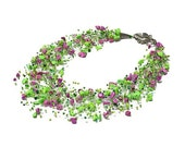Pink fuchsia and green Lime  turquoise Necklace.  Spring Wedding Made to order