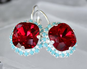 Ruby Red Swarovski Crystal with Surrounding Turquoise Halo Crystals on Silver Leverback Earrings