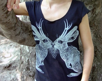 Kissing Jackalope tshirt - eco-friendly grey ink screenprint on black cotton  - womens size L