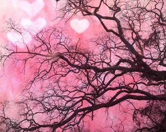 Nature Photography, Pink Baby Girl Nursery Decor, Fantasy Fairytale Nature Trees, Pink Hearts Trees Nature Print, Dreamy Pink Nursery Prints