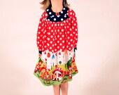 Girl's Gnomeville Smock Dress, Girls Dresses, Red Dress, Gnomes, Toddler dress, Polka Dot, Birthday Party dress, Size 2T 3 4 5 6 7 8 10