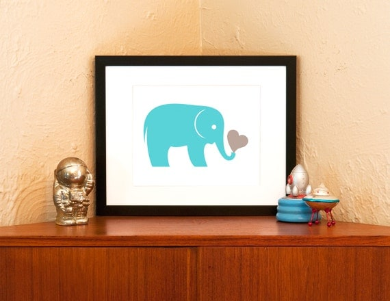 Aqua or Pink Elephant with Heart 8x10 Art Print - Zoo Animal Nursery Decor (Free Shipping in US)