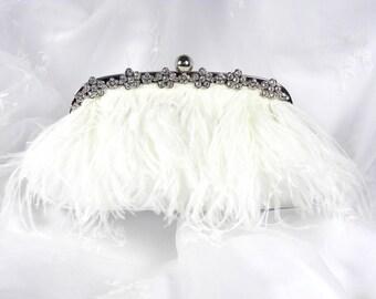 Ostrich Feather Bridal Clutch Purse,  White Feather Clutch, Satin Wedding Clutch, Feather Wedding Purse with Rhinestone Trim