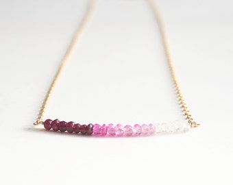Pink Necklace, Ombre Necklace, Valentines Day, Gemstone Jewelry