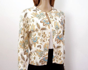 Vintage 1960s Cardigan Sweater Tan Chocolate Teal Floral Sweater / Small to M