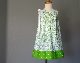 Little Girls Green Pillowcase Dress  - Lime Green and Crisp White Sun Dress - Girls Summer Dress - Size 12m, 18m, 2T, 3T, 4T, 5, 6, 8, or 10