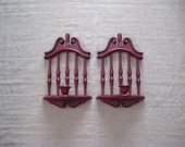Homco Candle Sconces in Colonial Red / Americana 70's Candle Sconce Pair