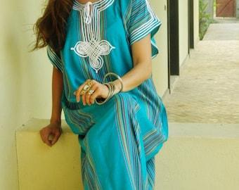 Caftan Kaftan Bedoin Style- Turquoise- Eid, Ramadan, loungewear, as beachwear,beach cover ups, maternity wear, gifts,  beach weddings