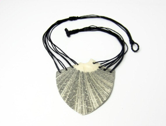 Book Necklace - Pendant made of Book Pages