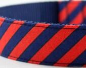 Navy Red Orange Stripes Dog Collar