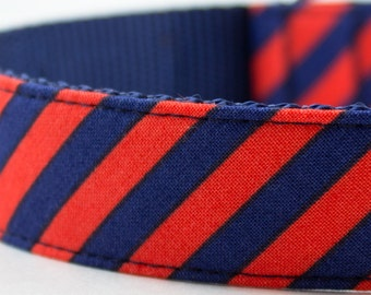 Navy Red Orange Stripes Dog Collar