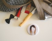 Lady Face Ombre Illustration Pocket Mirror
