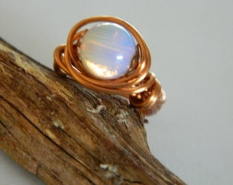 Ring Copper Wire Wrap Ring Opalite and Natural Copper Wire Wrap Ring