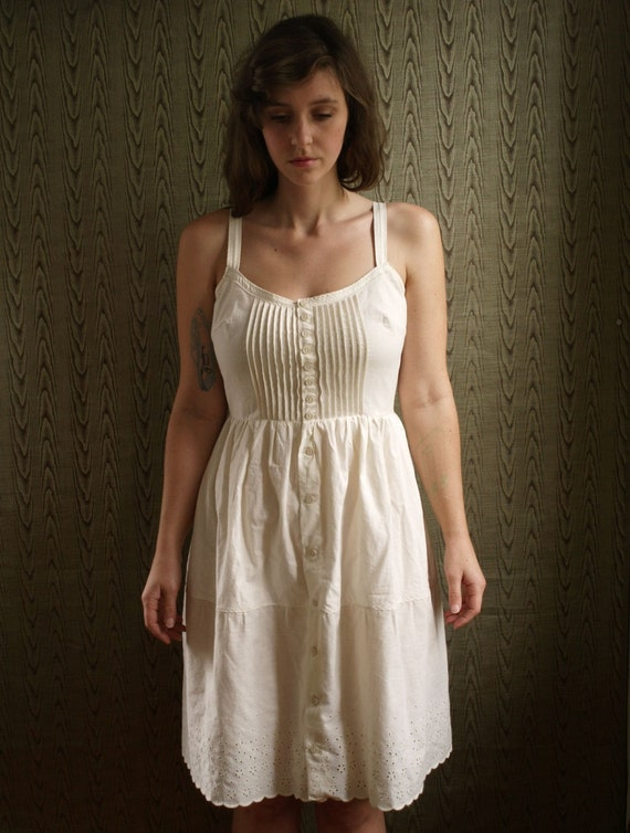 Button Front Pin Tucked Organic Cotton Eyelet Slip Underdress