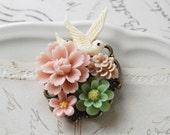 Ivory Bird Floral Brooch. Vintage Inspired Cream Ivory Resin Bird Green Flower Soft Pink Flowers Brooch. Spring Wedding Bridal Sash Brooch