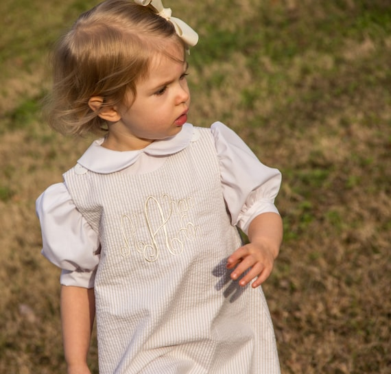 Girls Monogrammed Beige and White Seersucker A-Line Dresses