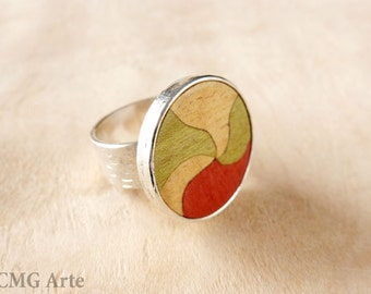 Silver wood ring, sterling silver ring, unique silver ring, wood rings for women, handmade silver ring, silver ring gift, ring wood silver