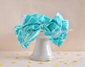 Summer Bow - 50% off on sale big bow headband, blue green seashell pattern