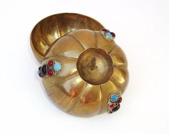 Vintage Brass Box | Brass Pumpkin | Jewelry Box | Ring Box | Jeweled Pumpkin