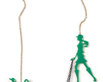 Green necklace, Dog walker necklace - Statement necklace - A walk in the park - Laser cut acrylic (plexiglass) jewelry, Animal lover jewelry