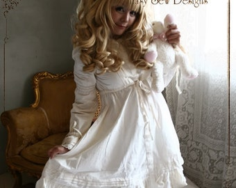 SALE 54.00 Princess Lolita Babydoll Empire Waist Button Dress Vintage/Antique White/Beige