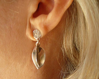 Flower Bud Earrings, Sterling Dangle, Silver Posts, Handmade Silver Floral Earrings, Nature Inspired Organic Shape, Fabricated 8 sided Bud