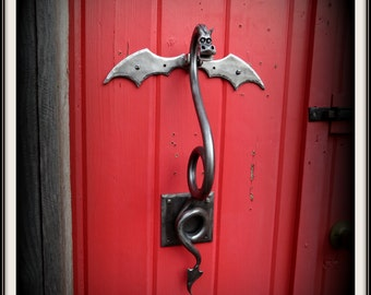 DRAGON DOOR KNOCKER (Large) Sculpture Hand Forged and Signed by Blacksmith  Naz - Original Design - Functional Art - Metal Dragon - Dragons